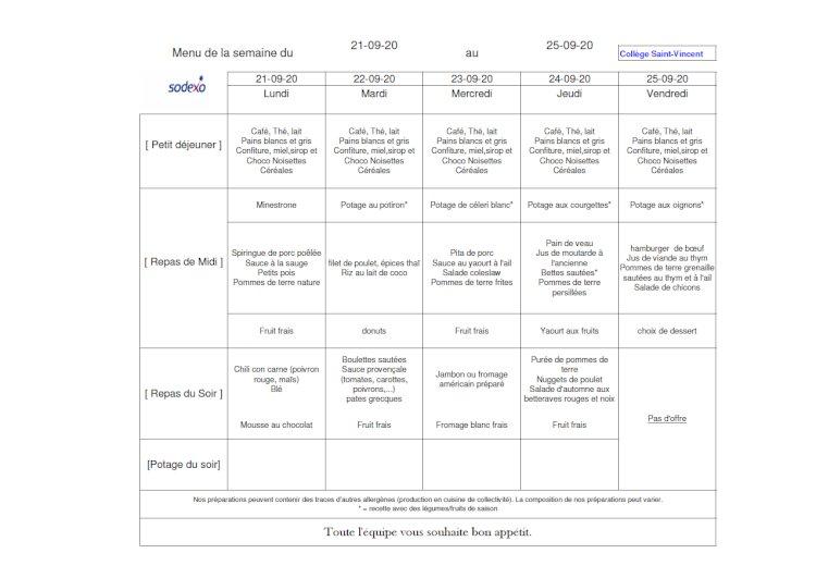 Le menu de la semaine du 21 au 25.09.2020