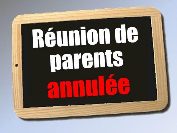 Annulation de la réunion de parents du mardi 10 novembre 2020