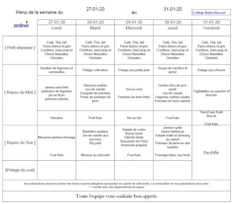 Le menu de la semaine : du 27 au 31 janvier 2020