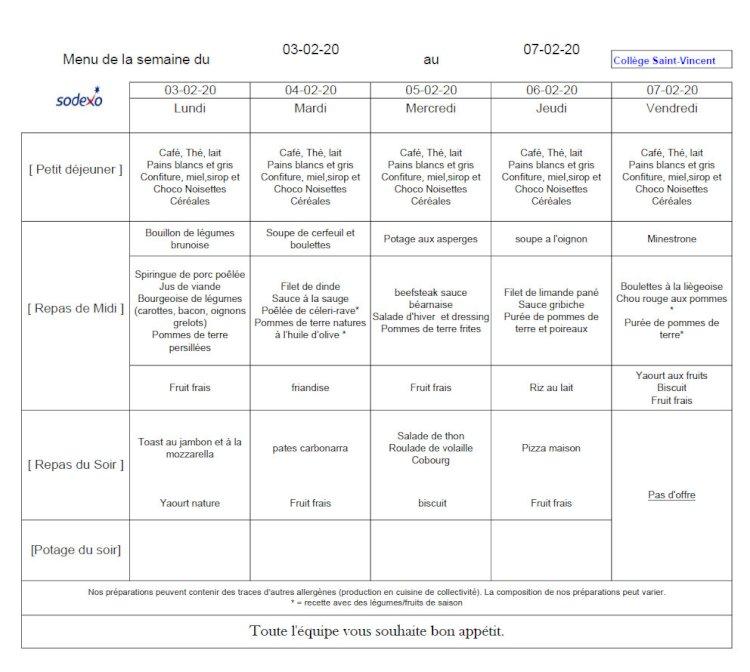 Le menu de la semaine du 2 au 7 février 2020