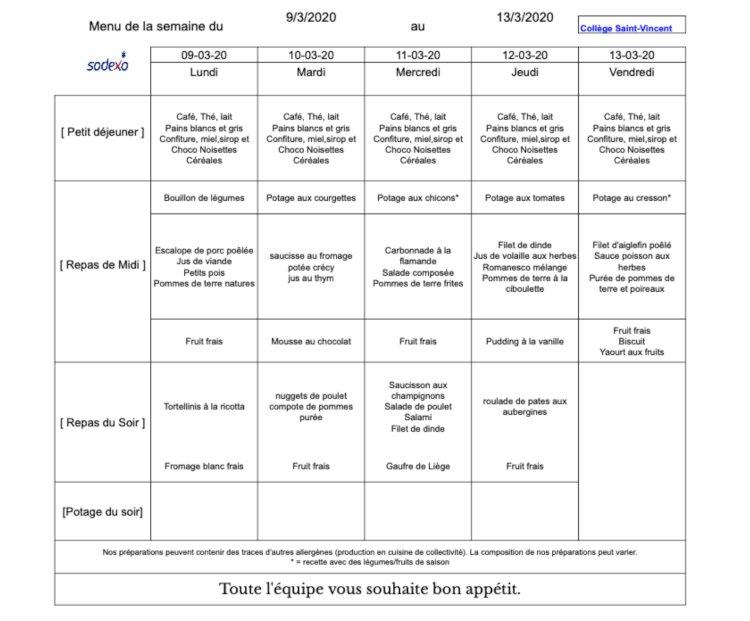 Le menu de la semaine du 9 au 13 mars 2020