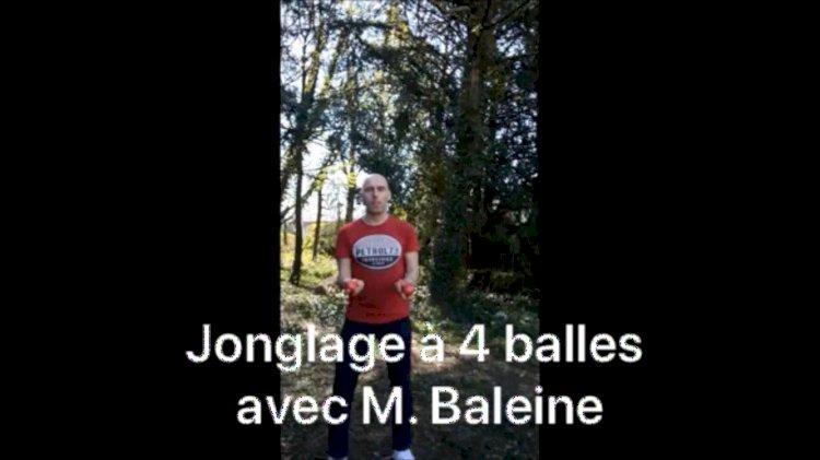 Les cours et défis de Jonglage : Lundi 13 avril Jongler à 4 balles avec M. Baleine