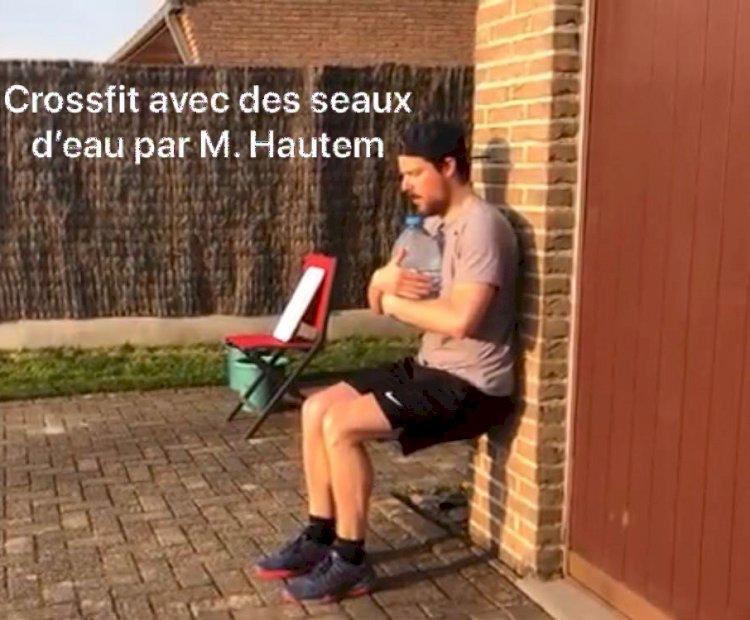 Les séances de renforcement de M. Hautem : Jeudi 16 avril Crossfit avec des seaux avec M. Hautem